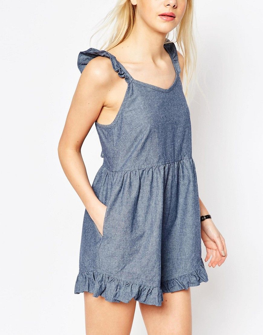 Le Meilleur Image 3 Of Asos Denim Frill Hem Light Denim Playsuit With Ce Mois Ci