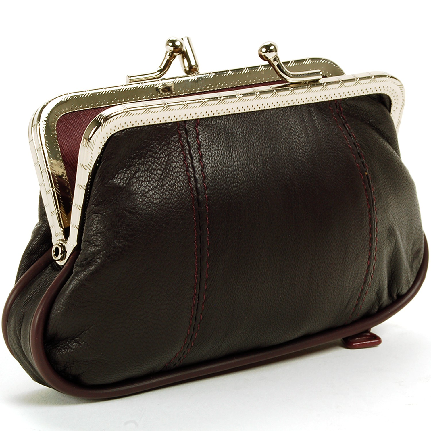 Le Meilleur Leather Womens Wallet Metal Frame Coin Purse Id Credit Ce Mois Ci