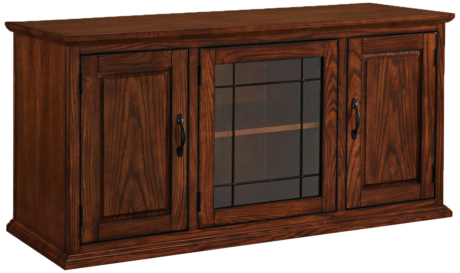 Le Meilleur Leick 50 Wide Burnished Oak 3 Door Leaded Glass Tv Ce Mois Ci