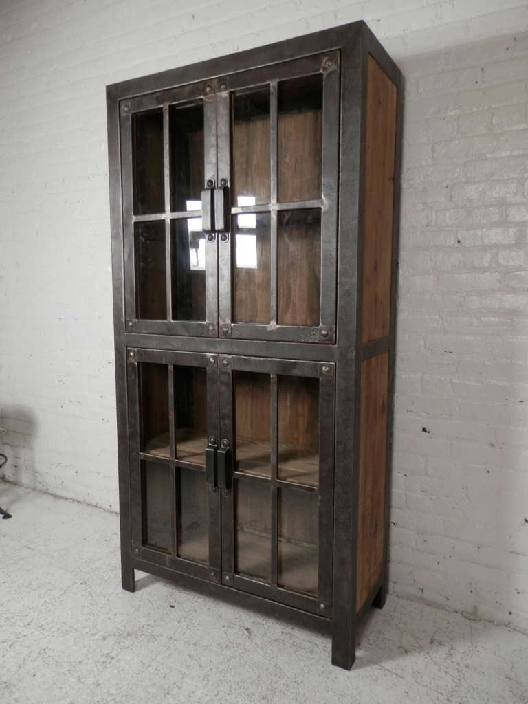 Le Meilleur Reclaimed Iron And Wood Glass Door Cabinet For Sale At 1Stdibs Ce Mois Ci