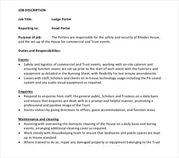 Le Meilleur 10 Porter Job Description Templates Pdf Doc Free Ce Mois Ci