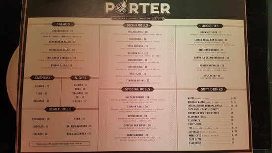 Le Meilleur Menü Sushi Picture Of Porter Bar B Q Craft Ce Mois Ci