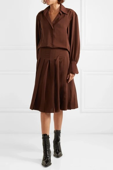 Le Meilleur Chloé Pleated Silk Crepe De Chine Dress Net A Porter Com Ce Mois Ci