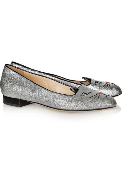 Le Meilleur Charlotte Olympia Glitter Kitty Embroidered Glitter Ce Mois Ci