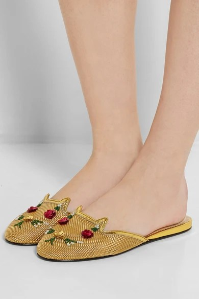 Le Meilleur Charlotte Olympia Kitsch Kitty Embellished Mesh Slippers Ce Mois Ci Original 1024 x 768