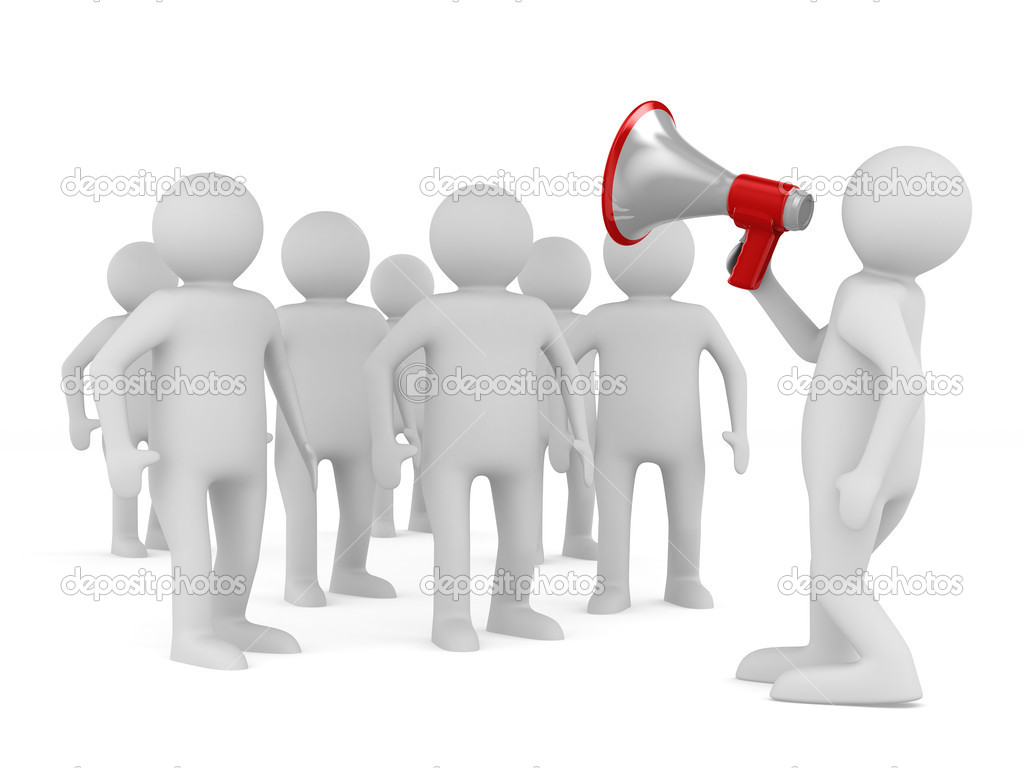 Le Meilleur Orator Speaks In Megaphone Isolated 3D Image — Stock Ce Mois Ci