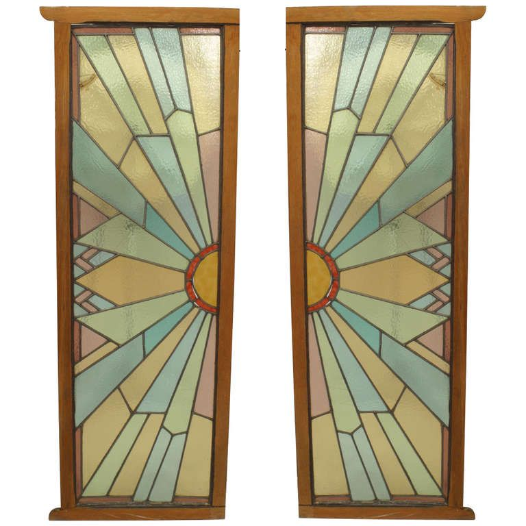 Le Meilleur Pair Of French Art Deco Stained Glass Doors Stained Ce Mois Ci