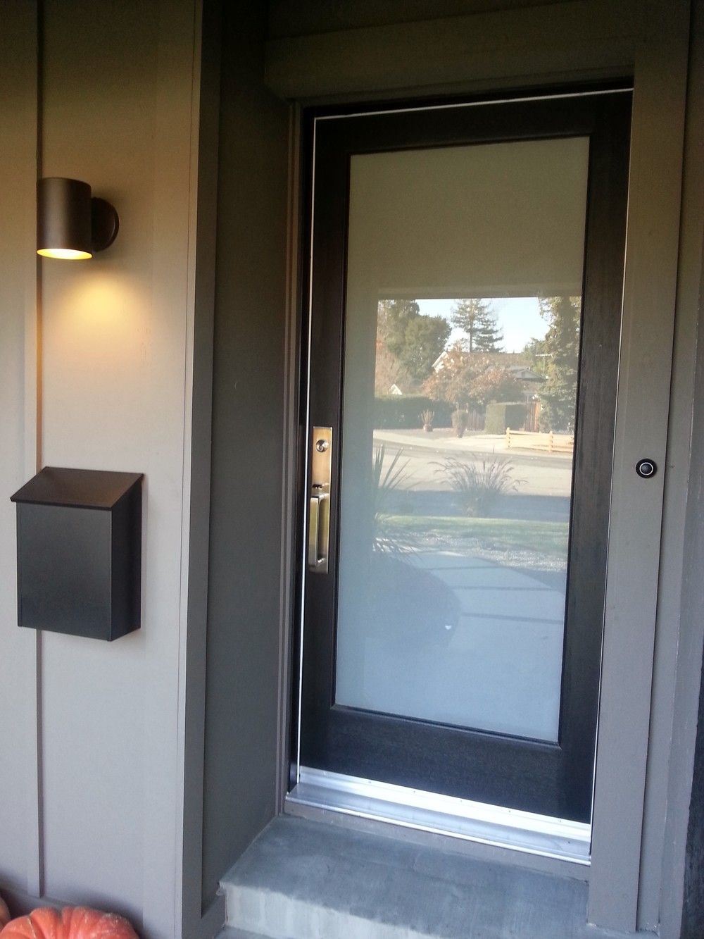 Le Meilleur New Laminated Glass Panel Front Door With Lovely Hardware Ce Mois Ci