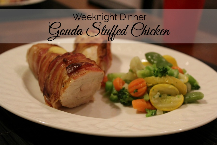 Quick weeknight dinner: Bacon Wrapped Gouda Stuffed Chicken