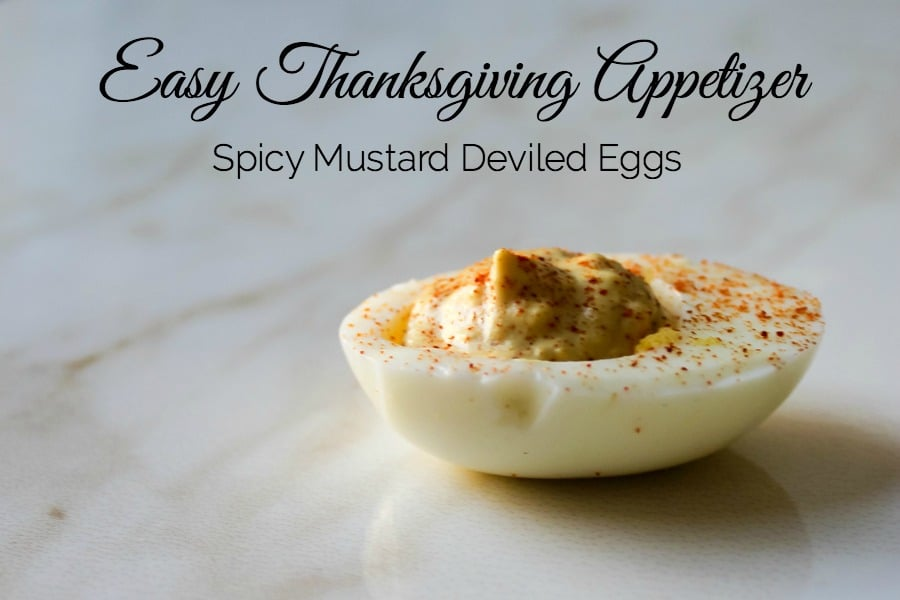 Spice up your favorite deviled egg recipe with Spice Brown Mustard from Hickory Farms. This recipe is the perfect easy Thanksgiving Appetizer.