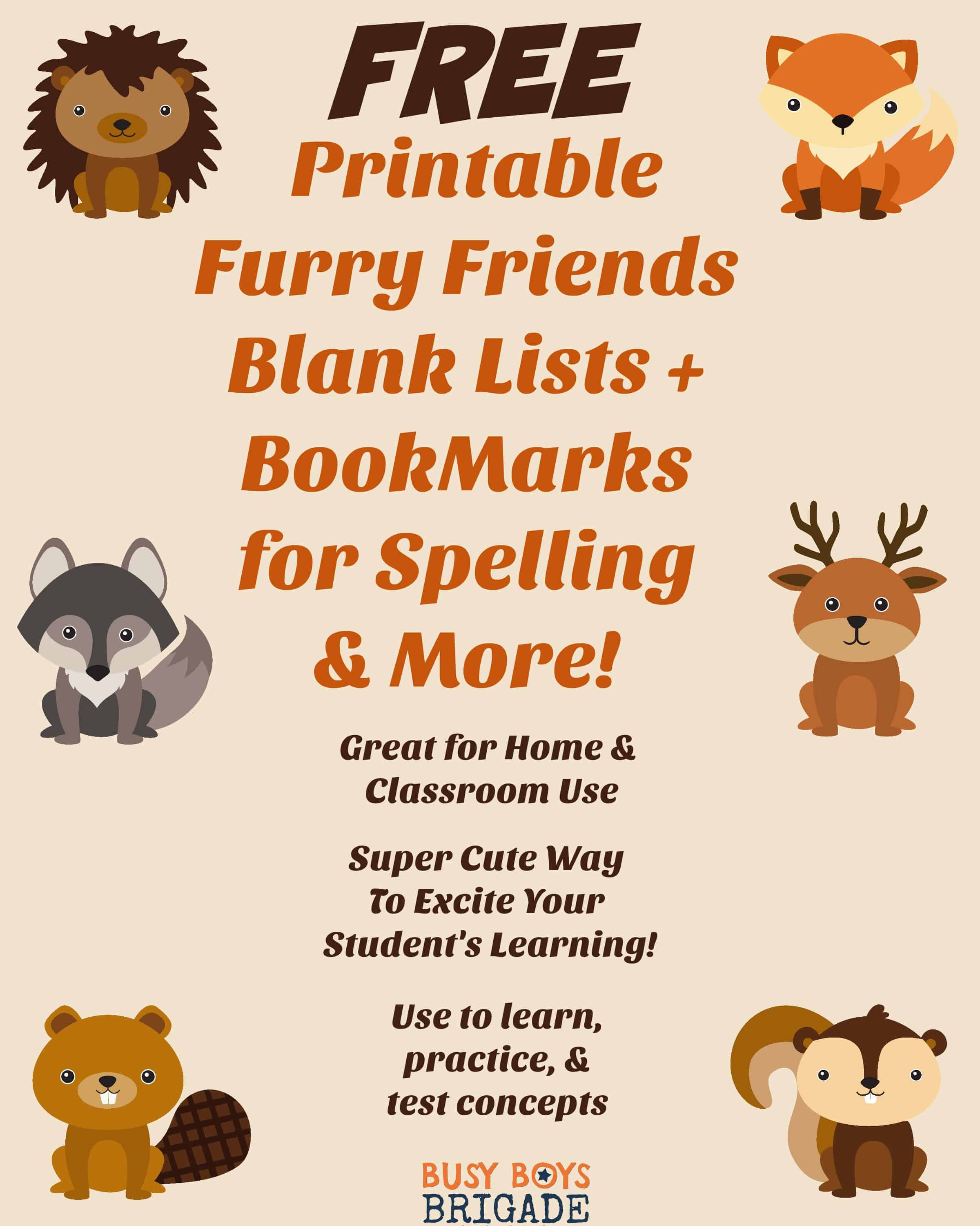 Furry Friends Blank Lists Amp Bookmarks For Spelling Amp More