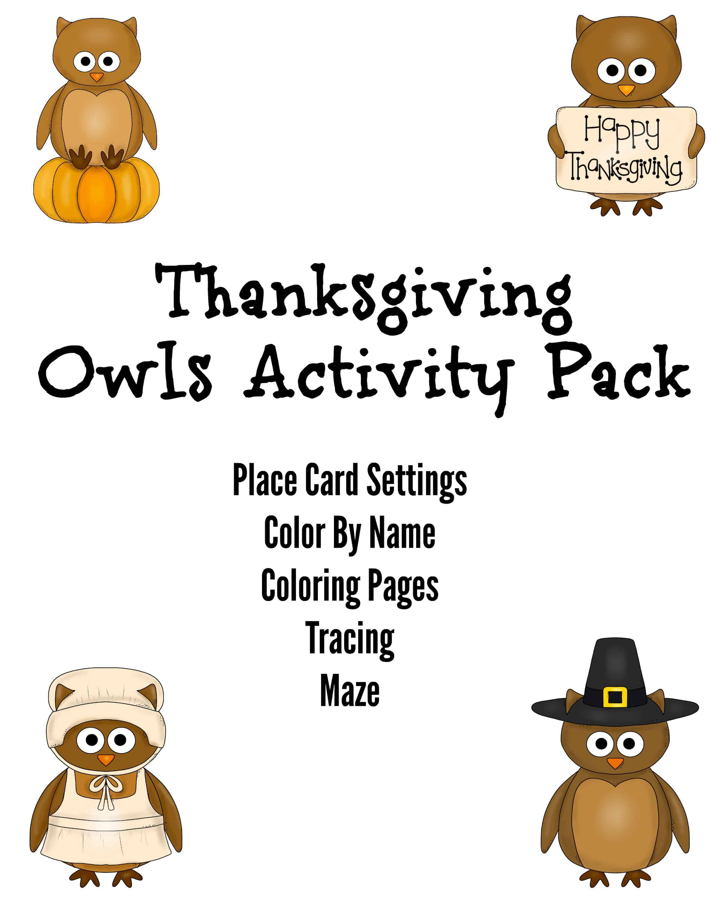 Thanksgiving Owls Activity Pack