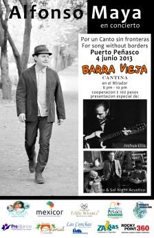 Alfonso Maya canta autor se presentara en Puerto Peñasco, Junio 4, por un canto sin fronteras, Alfonso Maya in Rocky Point