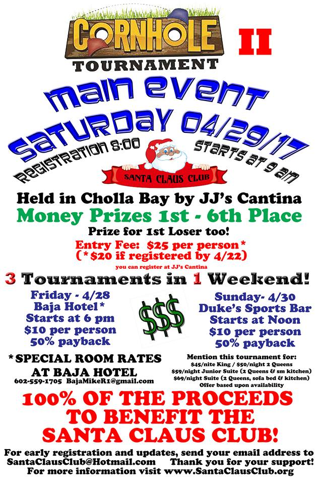 cornhole-april-santaclaus Preregister for 2nd Santa Claus Club Cornhole Tournament