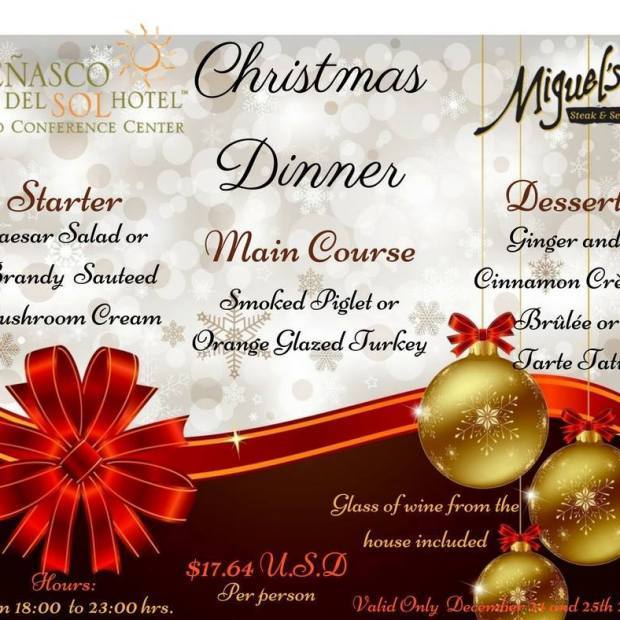 penasco-del-sol-christmas-dinner-english Where to go for Christmas & New Year's in Rocky Point 2017