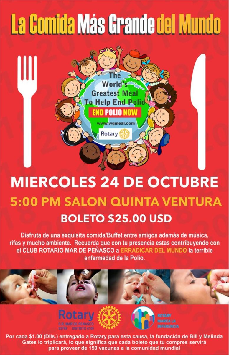 """poster-777x1200 3rd Annual """"World's Greatest Meal"""" against Polio Oct 24th!"""