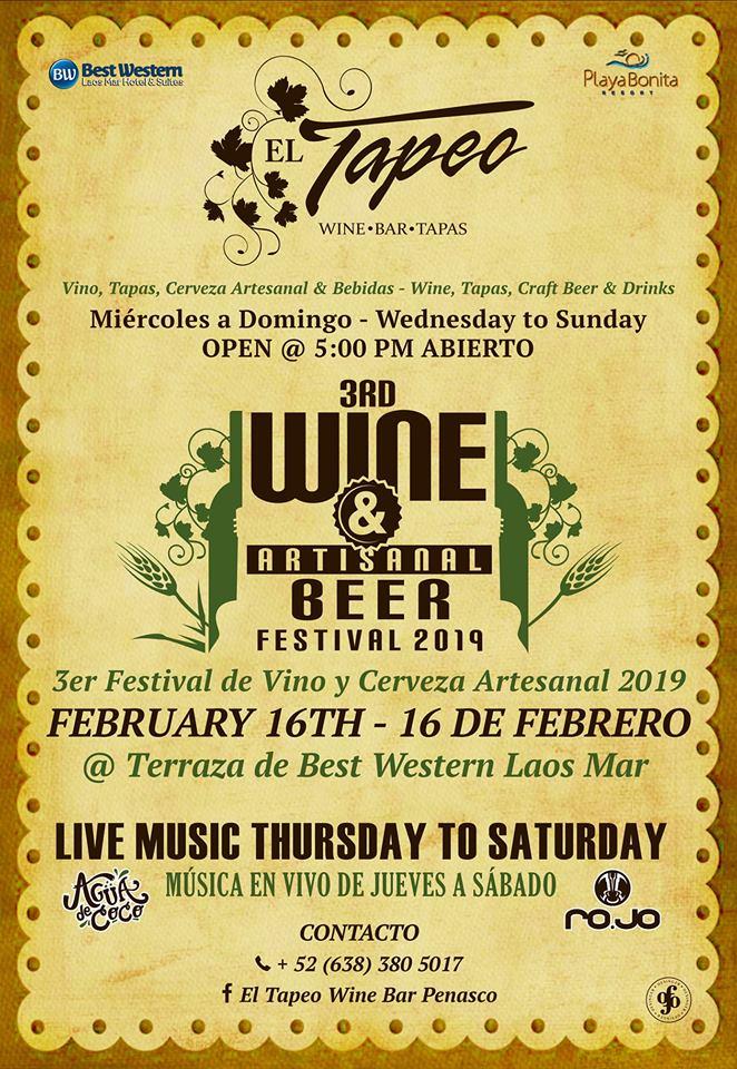 3rd Wine & Craft Beer Festival @ El Tapeo wine bar at Laos Mar