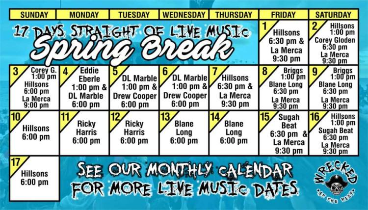 Wrecked-Spring-Break-19 Wrecked at The Reef Music Schedule