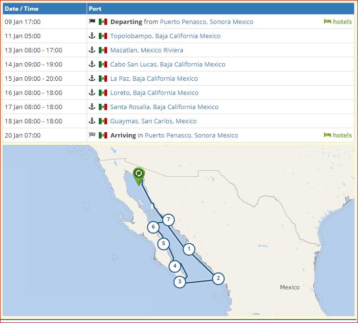 Itinerary Astoria sets out across Atlantic! Destination: Puerto Peñasco.