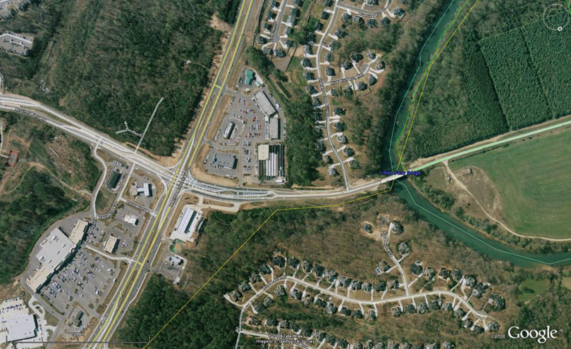 Same view on Google Earth, 2008. The Smith acreage became pricey homes and a shopping center.