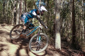 Andrew Crimmins, elite men's RedAss Downhill State Series leader, racing at Ourimbah. Photo: Jaime Black