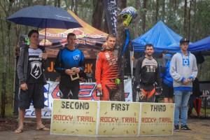 Photo: Deubel Bicycles - Elite Men's podium at Awaba (l-r): Regan Arthur (4th), Jake Newell (2nd), Graeme Mudd (1st), Rick Boyer (3rd), David McMillan (5th).