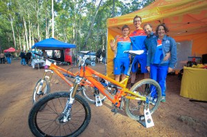 Gisella and Sebastien Deubel (from far right) with two of their Deubel Racing team riders at Rocky Trail's SHIMANO MTB Grand Prix race at Ourimbah in 2013. Photo: Outerimage.com.au