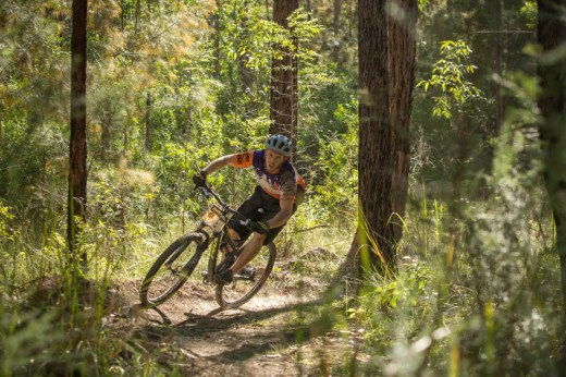 Tim Wynan flying the Kempsey Macleay Off-Road Cyclists club colours on the weekend.