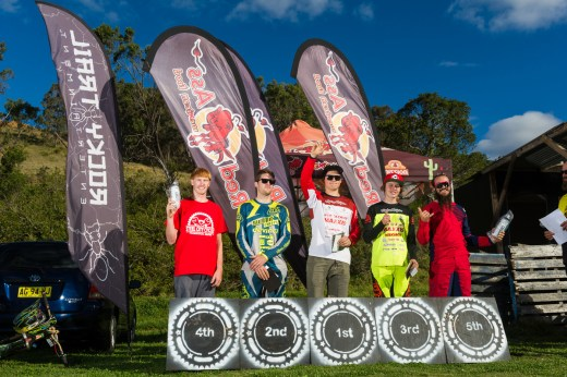 Elite Male podium (l-r): Josh Lea, Brent Smith, Joel Willis, Pat Butler, Keiran Volk.