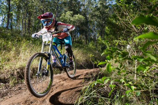 Ellie Smith leaving nothing out on track at Greenvalleys MTB Park at her elite category racing premiere.