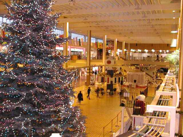 Midtown Plaza Rochester NY New York Christmas Monorail And Libertey Pole Downtown images by sp00k Www.RocPic.Com 2001