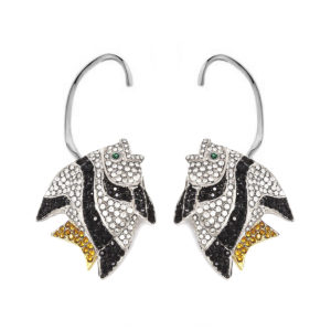 Earring Fish Love Black and White SCH 452-2