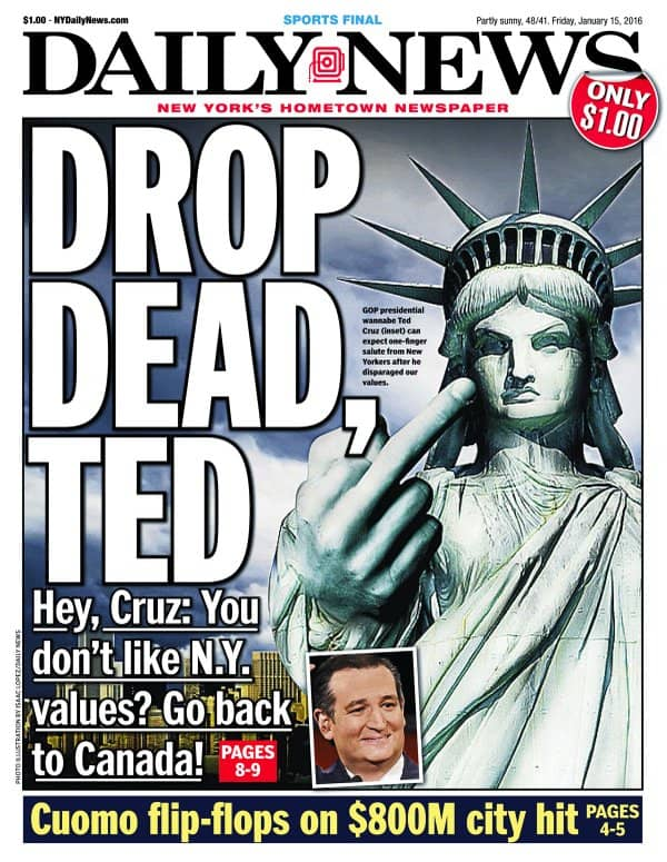 NYDN Front Page #NewYorkValues