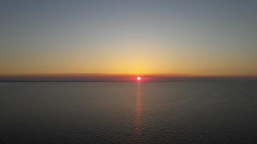 Solnedgang over Langeland og Fyn fra Storebælt