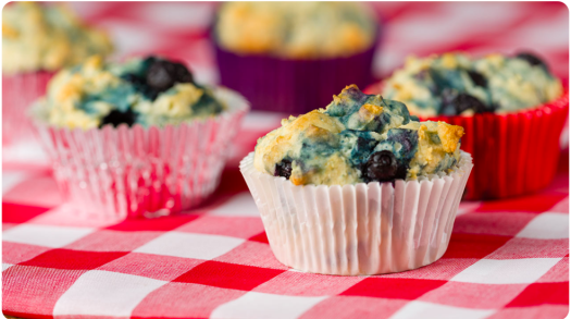 Sugar Free Gluten Free Lemon Blueberry Muffins