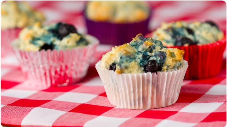 Sugar Free Gluten Free Lemon Blueberry Muffins