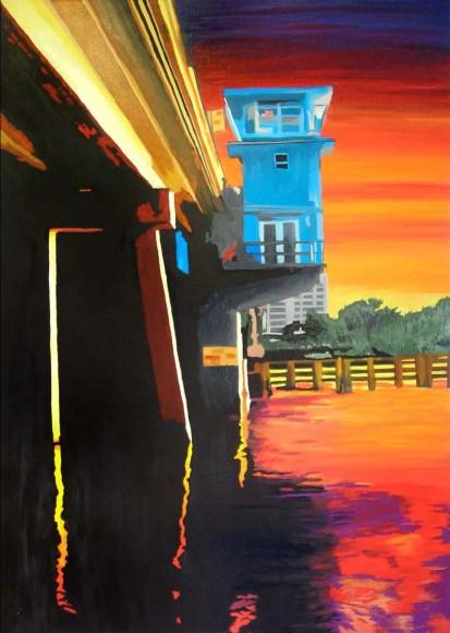 Clark Street Sarasota Bridge Sunset Painting by Rodger Bliss of Bradenton Florida