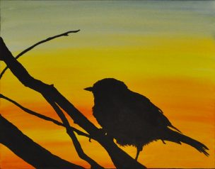 sunset Sarasota swamp Oil Painting Silhouette