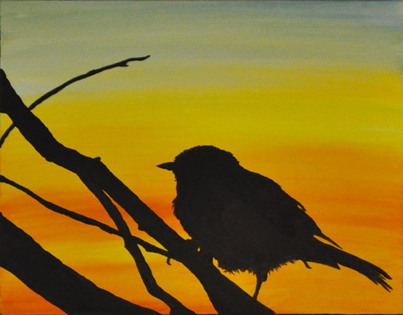 sunset Sarasota swamp Oil Painting Silhouette