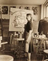Lee Krasner Painting in her Studio
