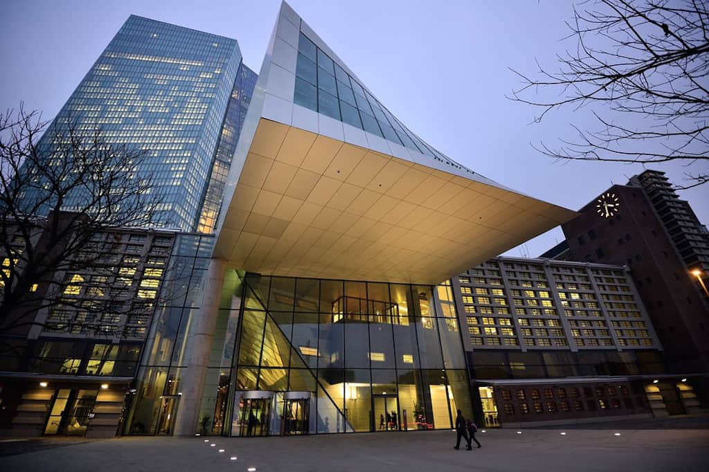 At the headquarters of the European Central Bank in Frankfurt, the bank's officials are mulling changes to its bond-buying regimen, which supports its quantitative easing program.
