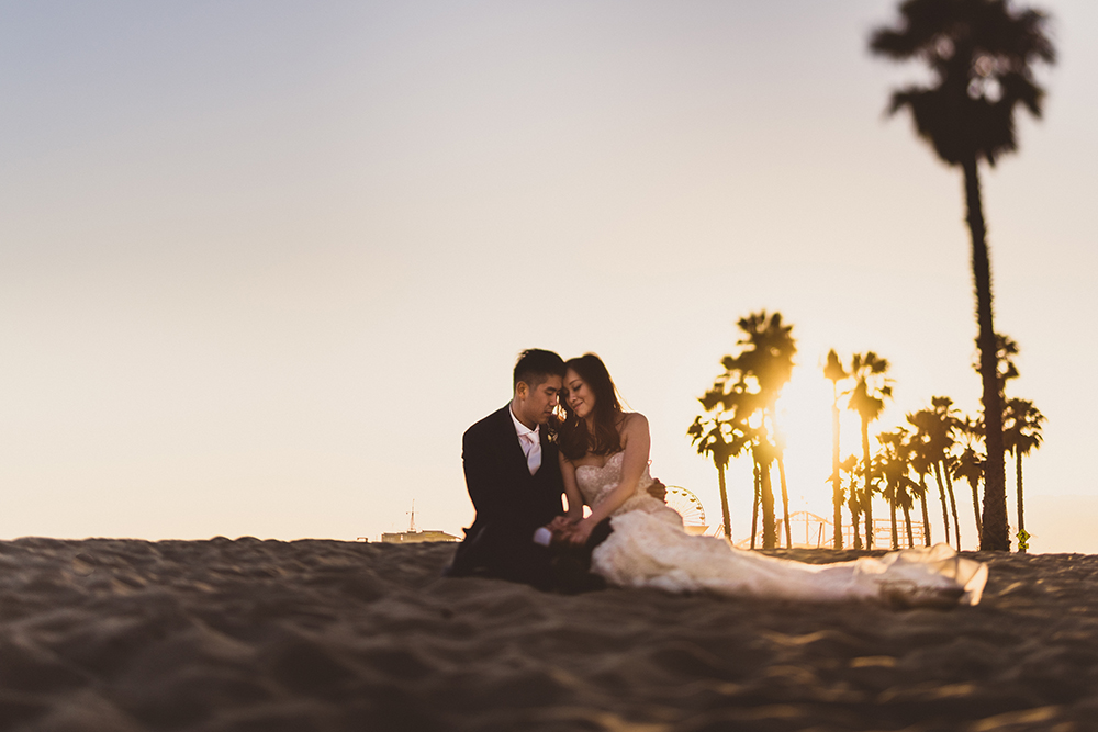 Tilt Shift Santa Monica wedding portraits