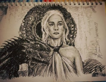 "Entry for #inktober 17: ""Daenerys Stormborn of the House Targaryen, the First of Her Name, the Unburnt, Queen of Meereen, Queen of the Andals and the Rhoynar and the First Men, Khaleesi of the Great Grass Sea, Breaker of Chains, and Mother of Dragons."" #inktober17 #inktober2015 @tuntunduduls #copic #illustration #photostudy #daenrys #targaryen #gameofthrones #got #fanart #illustration #inked #dragon #inktobersingapore"