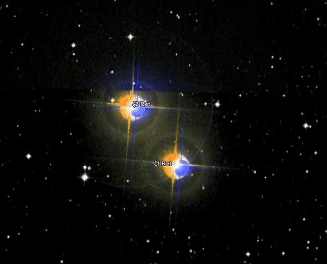 Zeta Reticuli - Estrelas vistas no Google Sky 2011, mostrando uma foto de 2007