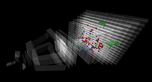 Controle de computador mostra colisão com energia de 13 TeV detectada pelo experimento LHCb, no acelerador de partículas LCH (Foto: Colaboração LHCb)