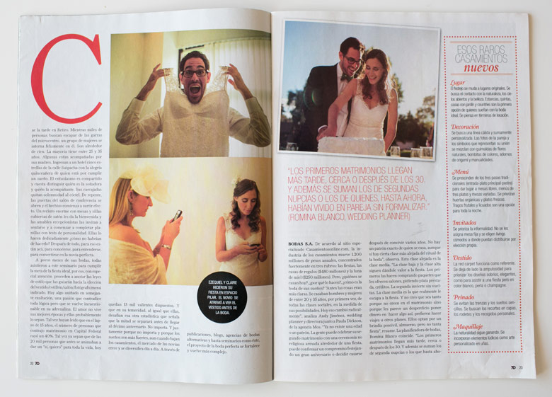 Nota Revista 7 dias yo me quiero casar fotos rodriguez mansilla fotografos