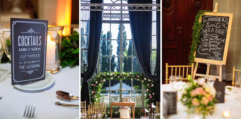 ambientacion de boda en el palacio sans souci por Flores del Fresno