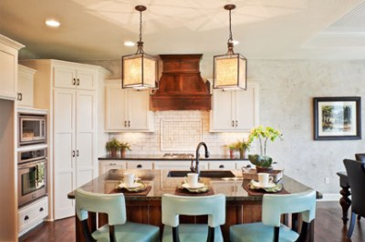 Dillon kitchen island with mint green chairs