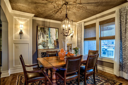 Painted ceilings and extra trimwork highlight the Lancaster III model home in Wyngate