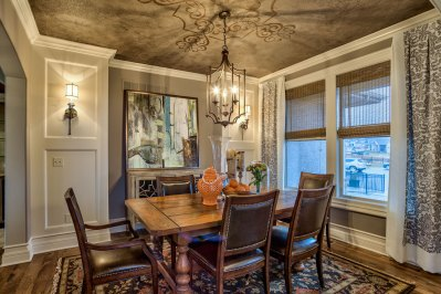 Lancaster III dining room with stenciled ceiling detail